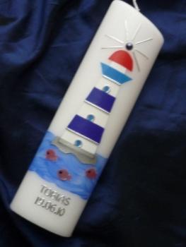 Sibylle s kerzenl dchen taufkerze leuchtturm for Leuchtturm basteln