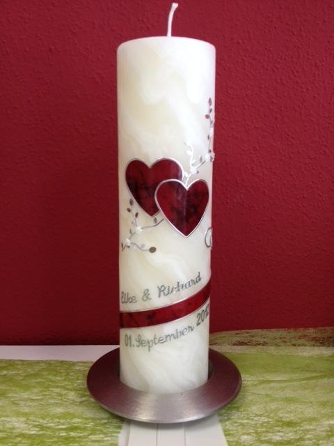 Sibylle`s Kerzenlädchen - Hochzeitskerze Marmorherz rot Bienenwachs 25cm
